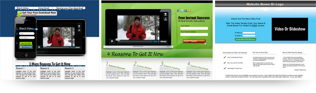 best video squeeze page templates